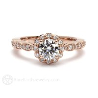 14K Rose Gold Moissanite Engagement Ring Diamond Halo Bridal