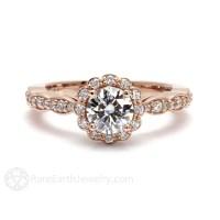 14K Rose Gold Moissanite Engagement Ring Diamond Halo Bridal