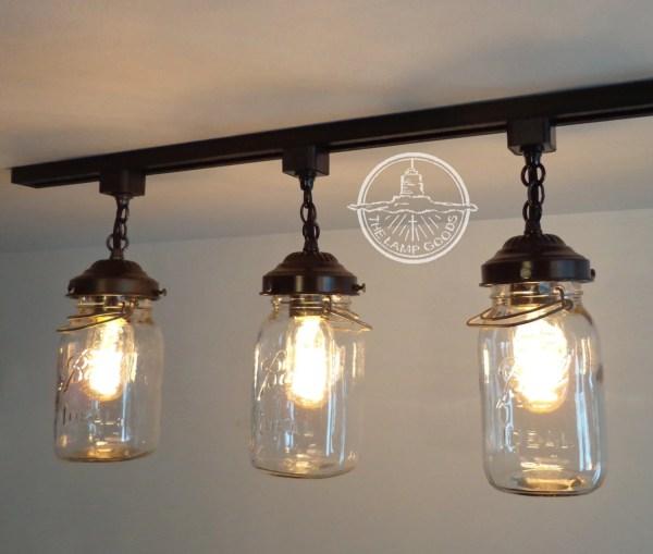 Vintage Mason Jar Track Light Trio