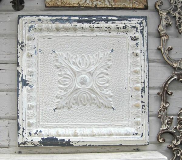 Framed Antique Ceiling Tin Tile. Vintage Metal Rustic
