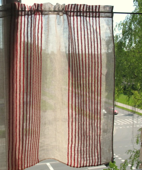 Curtain Lace Curtains Cafe Red Natural Gray Striped