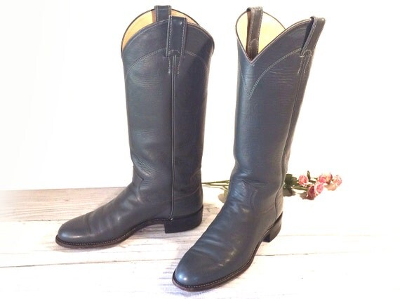 Vintage Cowboy Boots Justin Tall Gray Roper Style All