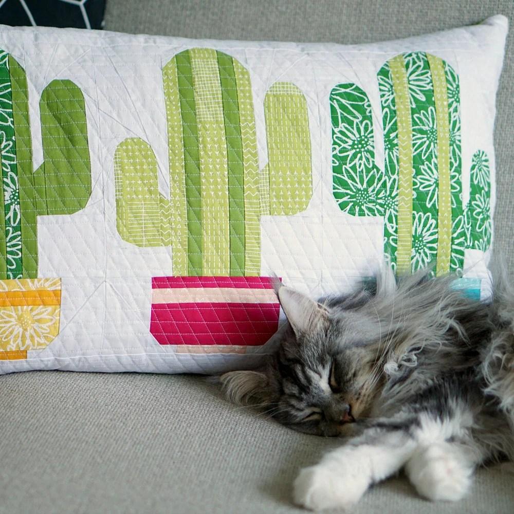 Cuddly Cactus Paper Piecing Pattern Quilt Block Pattern