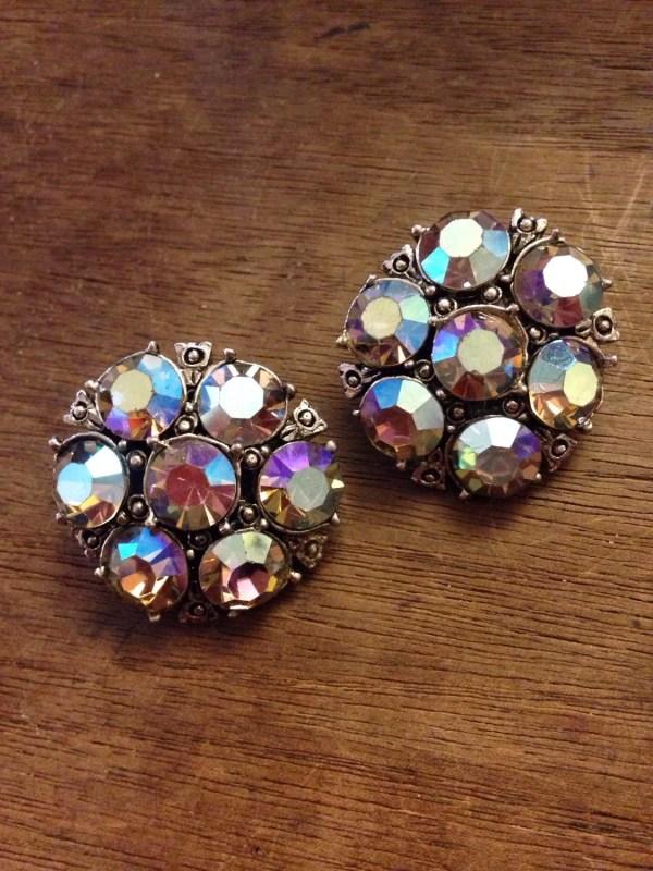 Aurora Borealis Ab Cluster Stone Clip Earrings