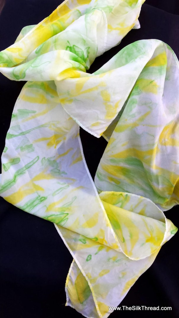 "Silk scarf. Green and yellow pattern with Original silk art, 8 x 72"" Hand painted abstract designs by artist M Theresa Brown, One of a kind"