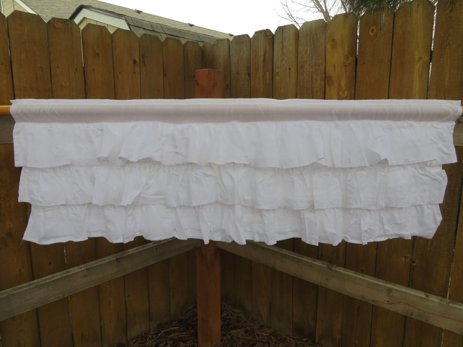 Solid Ruffled Window Valance Size 44x15 White Or