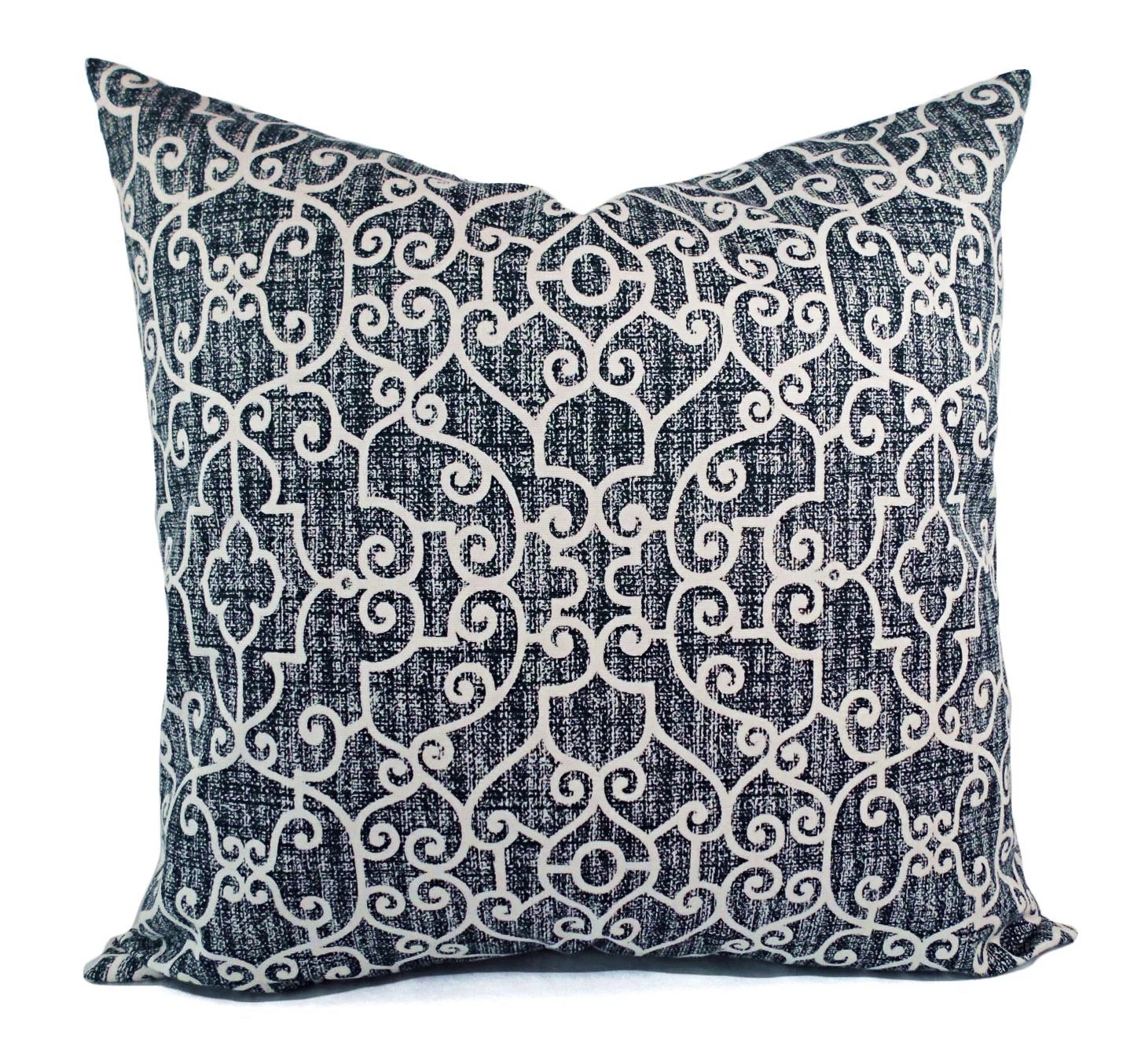 Two OUTDOOR Pillows Navy White Pillow Cover Navy Blue
