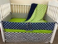 Navy and Lime Green Crib Bedding/Green crib by ...