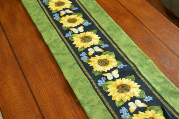 Sunflower Table Runner Decor Butterfly