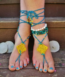 Turquoise And Yellow Beaded Barefoot Sandals Footless Sandal