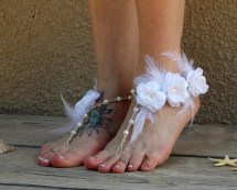 White Wedding Sandals Barefoot Beach Shoes