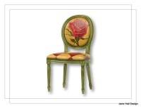 Bohemian Style Upholstered Dining Chair Hand Painted in