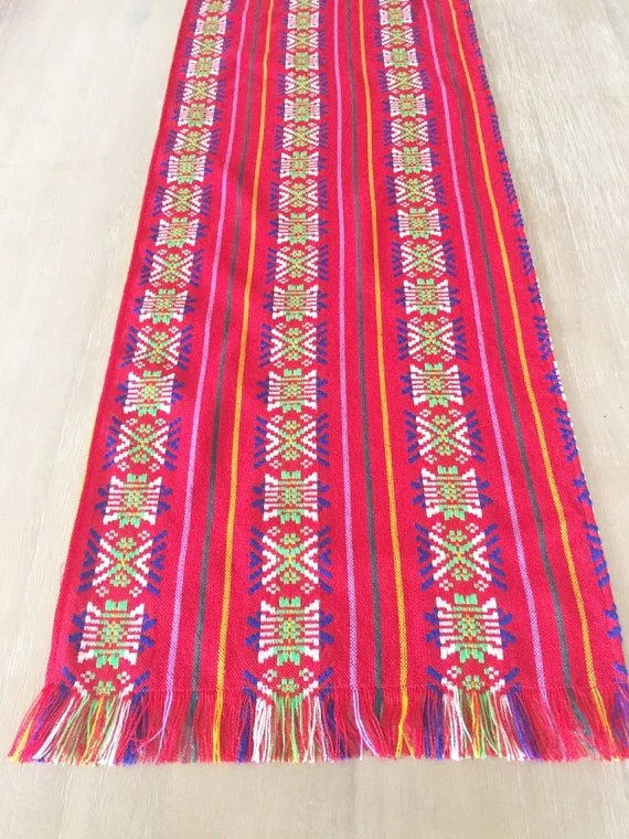 Mexican tablecloth runner or napkins Fiesta red Bohemian