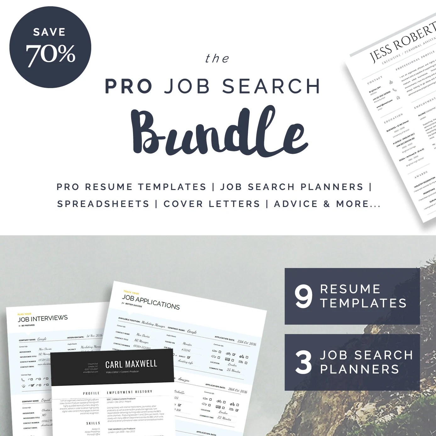 9 Resume  CV Templates 3 Job Search Planners Cover