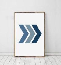 Chevron Art Print Geometric Blue Wall Print Chevron Modern