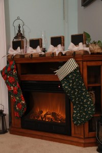Rustic Christmas Stocking Holders with chalkboard Set of 4