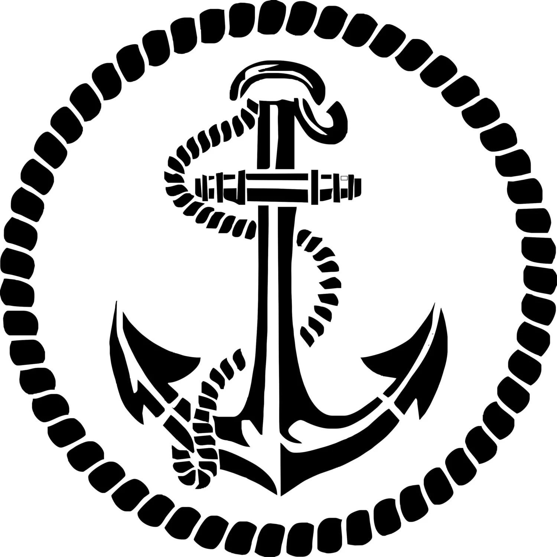 Stencil Stencil Marine Anchor Deco Marine With His Rope