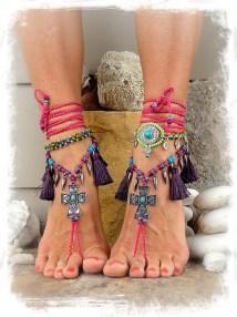 Pink Candy Cross Barefoot Sandals Purple Tassel