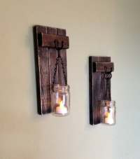 Rustic Wall Decor Wall Sconce Wooden Sconce Wooden Candle