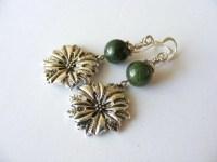 Poinsettia Earrings Silver Poinsettia Earrings Green Stone