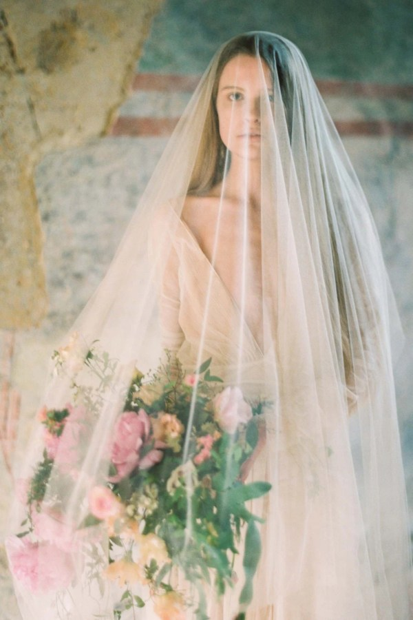 Heirloom Blusher Sheer Silk Tulle Veil Cathedral Length