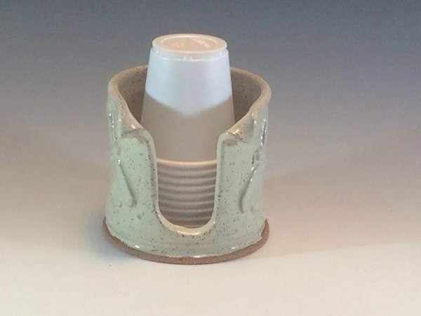 Cream Bathroom Dragonfly Cup Holder 3 oz by PotteryByYvonne