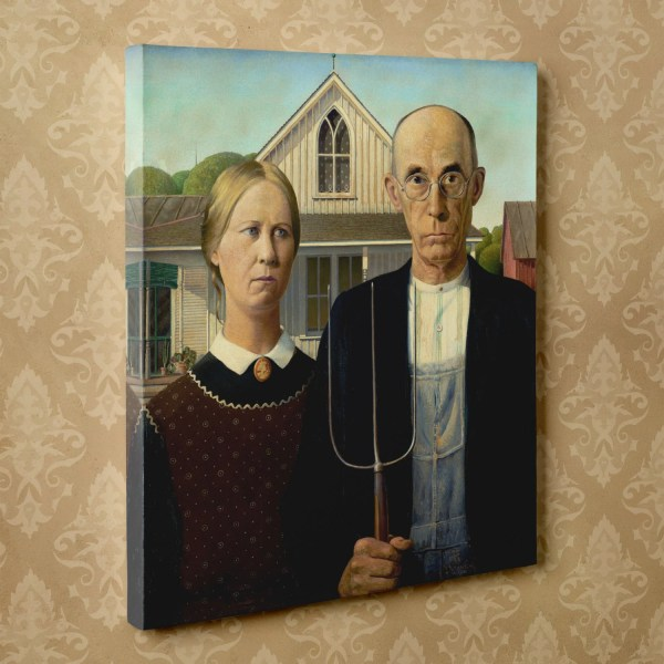 American Gothic Grant Wood 16 X 20 - Canvas Wrap Print