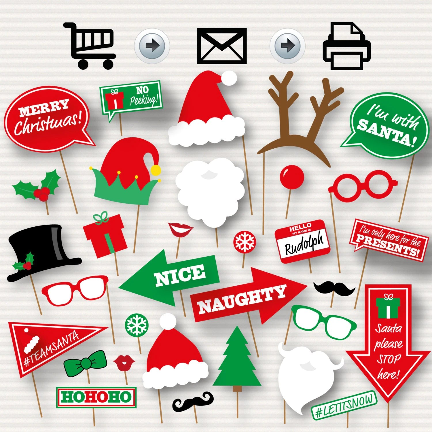 Christmas Photo Booth Printable Props Christmas Party Photo