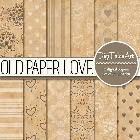 Hearts digital paper Old Paper Love floral