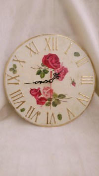 Large wall clock Wall clock Shabby chic roses wall decor