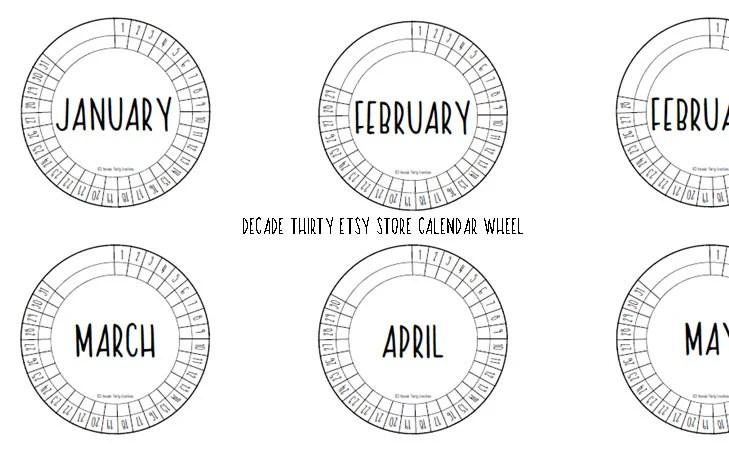 Decade Thirty Calendar Wheel BLANK Size 4.5cm