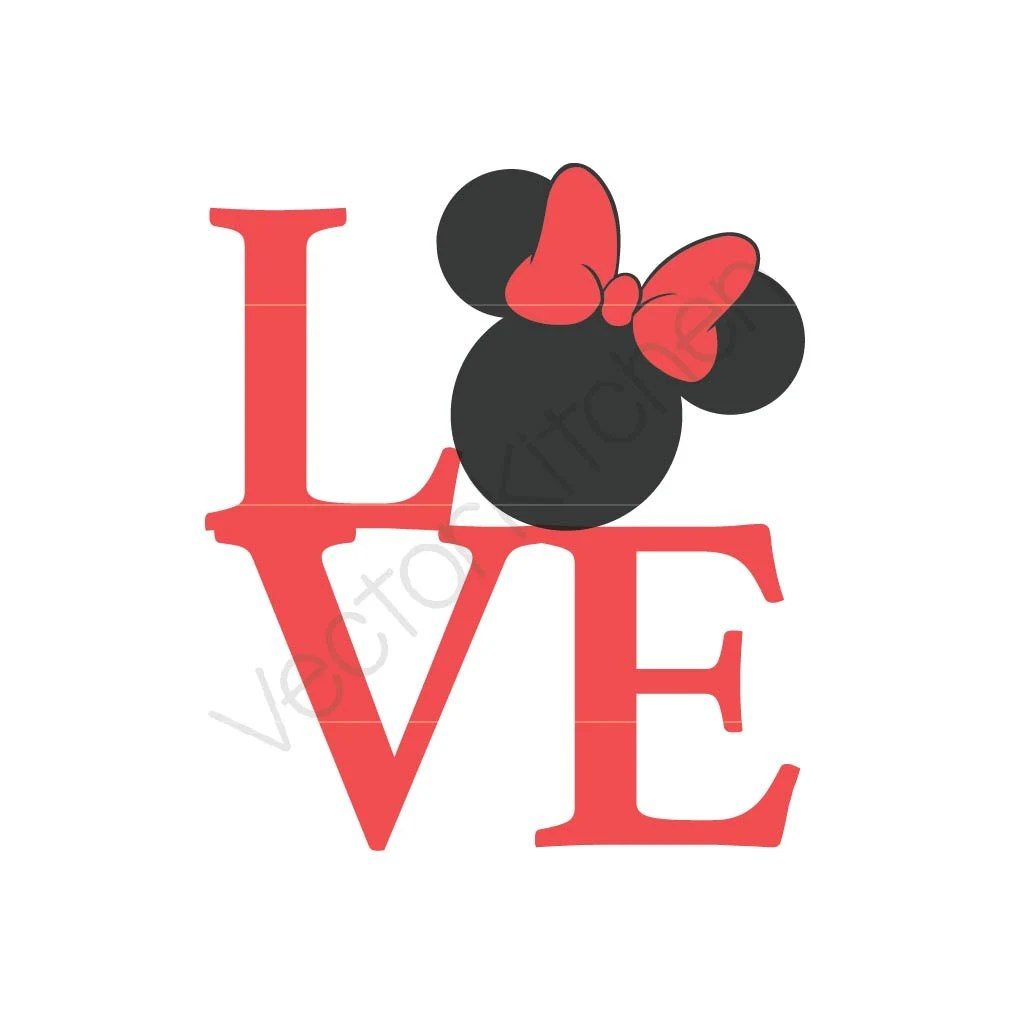 Download LOVE Minnie Inspired Silhouette Cutting Template SVG EPS