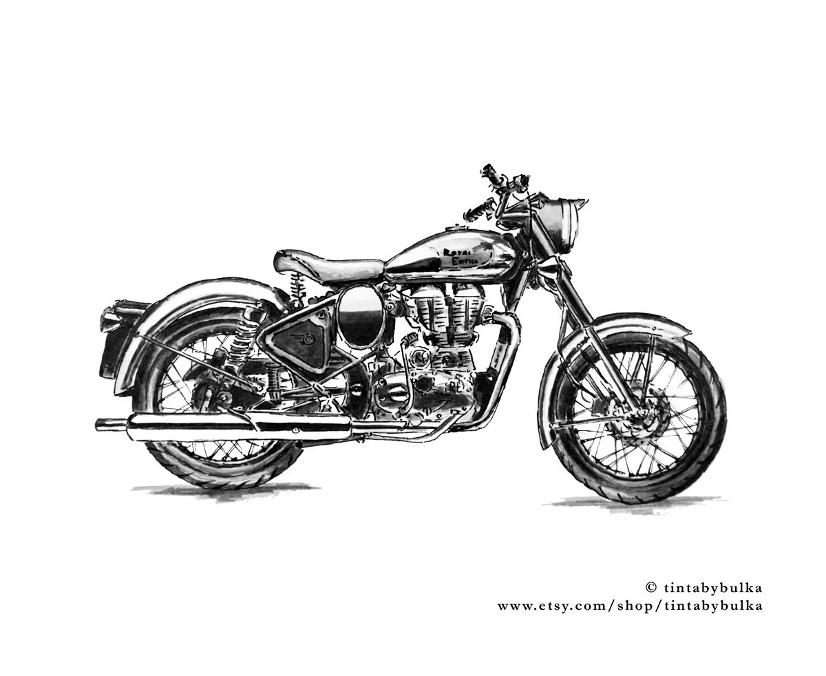 Royal Enfield Silver Bullet 500 Motorcycle 1930s Print