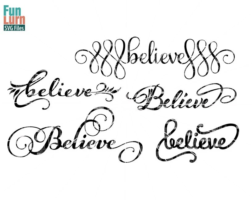 Believe, Believe SVG, Christmas, word art, clipart