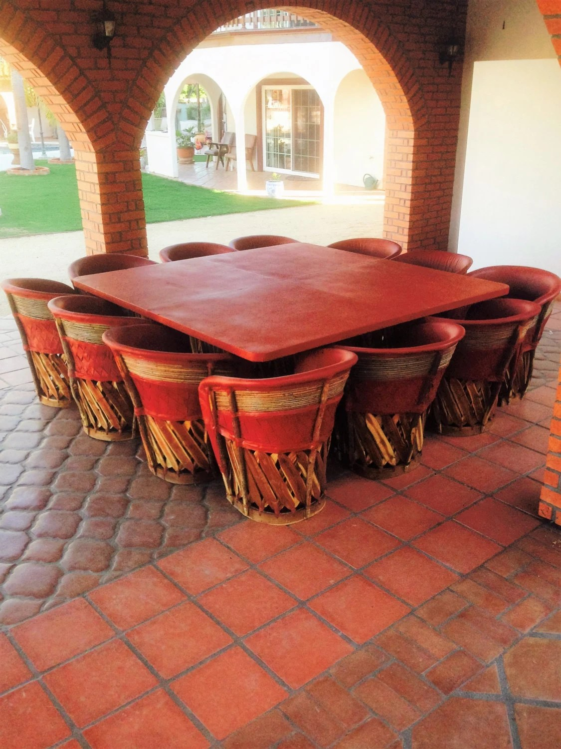 rustic outdoor chairs resin adirondack lowes items similar to dining set with large table & 12 chairs, equipales, mexican furniture ...