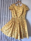 Handmade Retro Yellow Dress Cute Bird Print 1950'