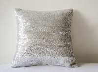 Shiny Silver Sequin Pillow Cover Silver Decorative Pillow
