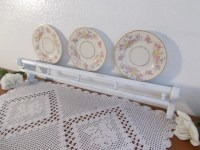 White Shabby Chic Plate Display Shelf with Vintage Pastel Pink