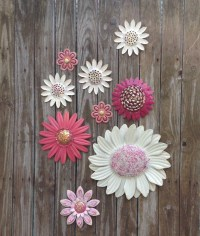 Metal Flower Wall Art Pink & White Metal Wall Decor 9 Pc