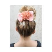 bow hand knit peach