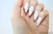 stiletto nails white marble