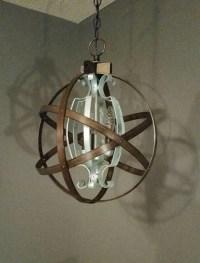 Orb Chandelier wood orb Chandelier metal orb light
