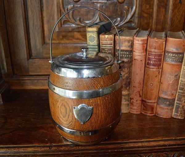 Antique English Biscuit Barrel Oak Wood Chrome Cartouche