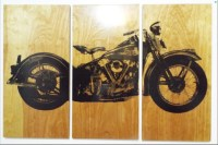XL Knucklehead Motorcycle Screen Print Wood Painting Wall Art