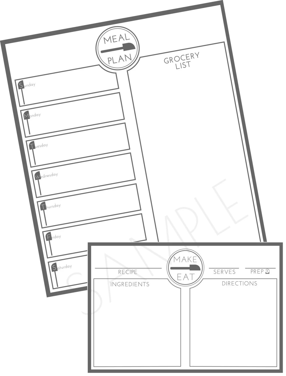 Recipe Card and Weekly Meal Plan Kitchen Set by