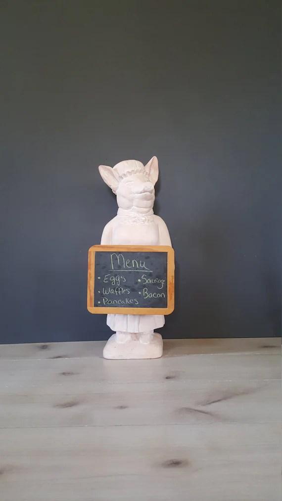kitchen rug set freestanding cabinet signed pastry chef pig holding chalkboard vintage pink plast