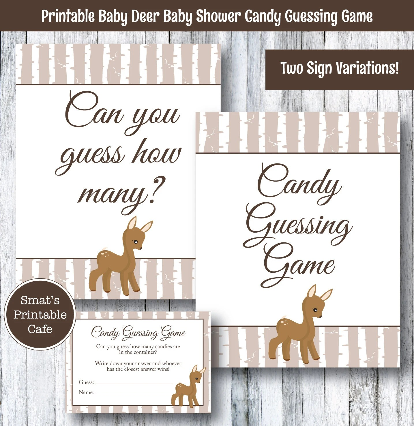 Baby Deer Baby Shower Candy Guessing Game Printable Rustic