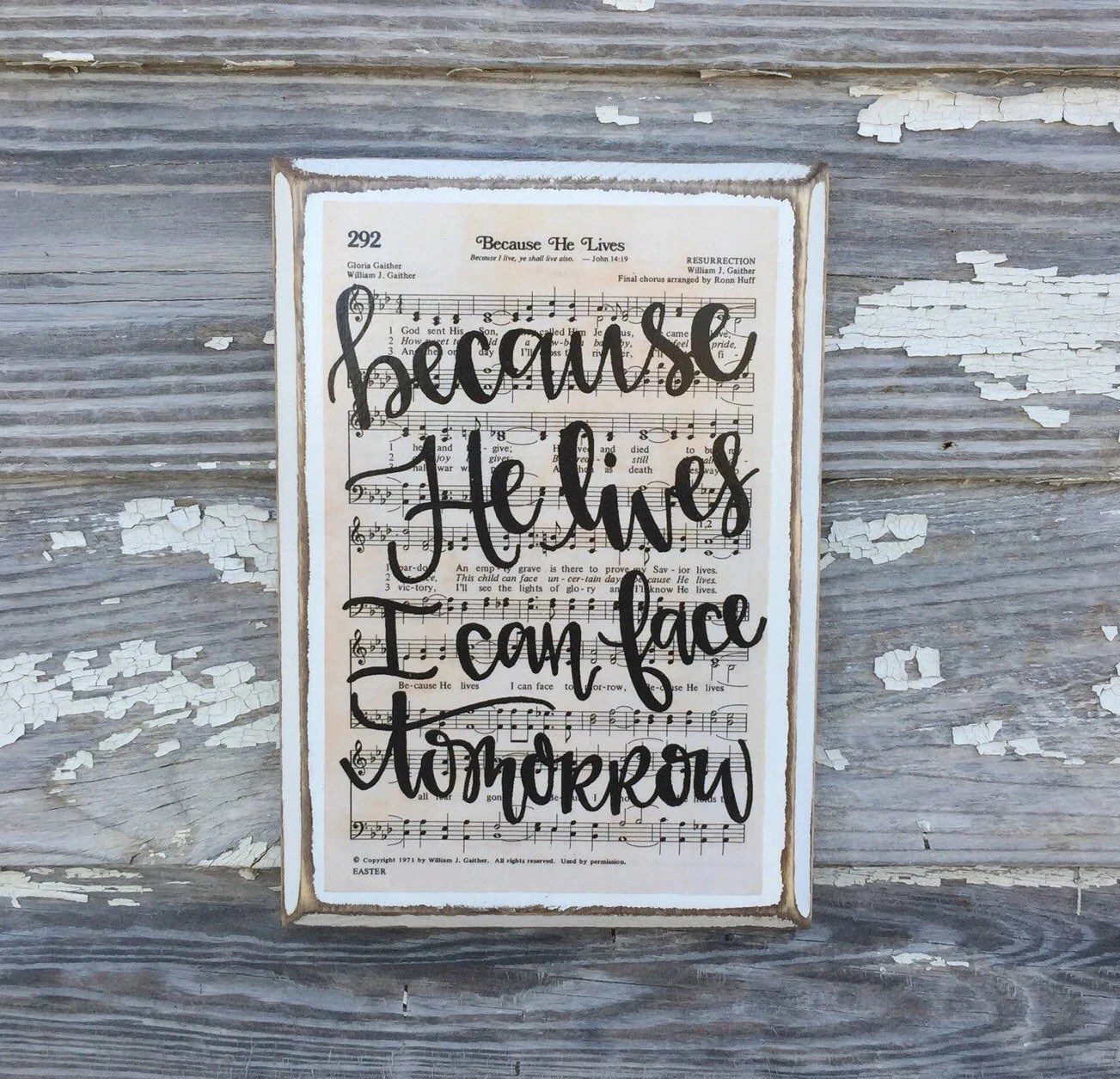 Because He Lives Hymn Board hand lettered wood by ImperfectDust