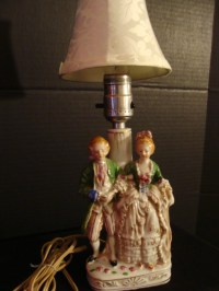 Lovely Colonial Couple Lamp from Occupied Japan