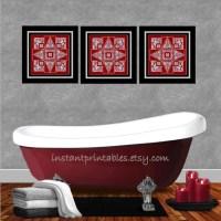 Red Bathroom Wall Decor Burgundy Maroon Gray by ...